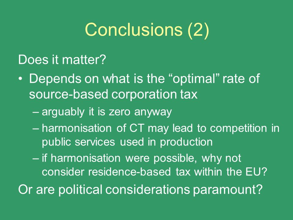 Conclusions (2) Does it matter