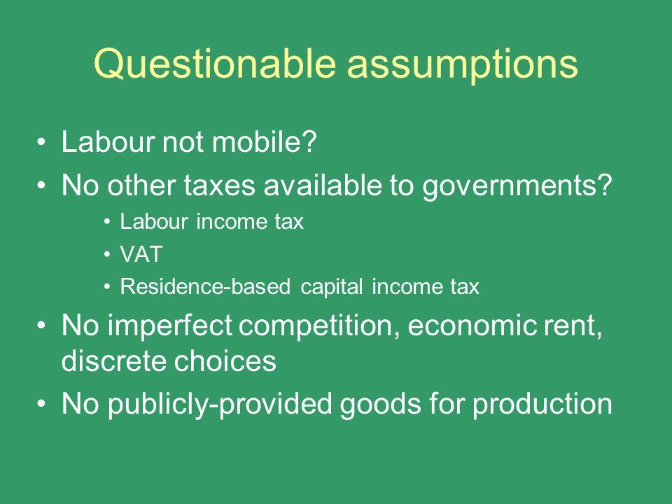 Questionable assumptions