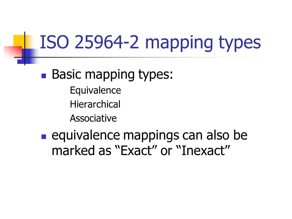 ISO 25964-2 mapping types Basic mapping types: