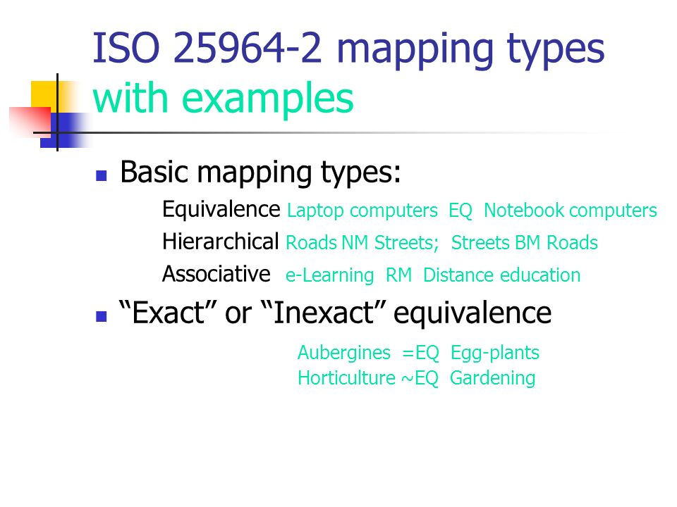 ISO 25964-2 mapping types with examples