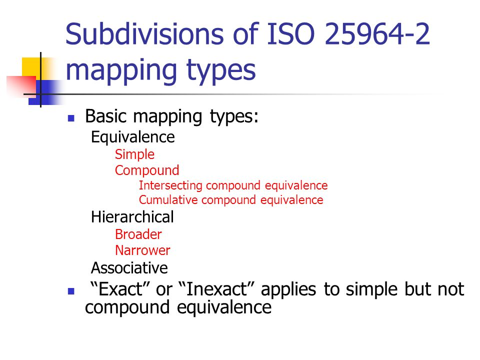 Subdivisions of ISO 25964-2 mapping types