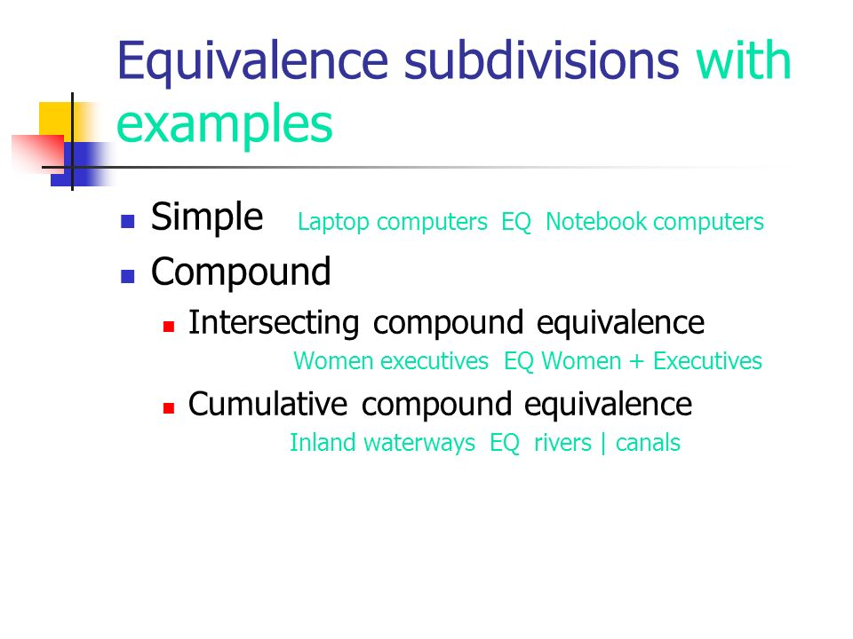 Equivalence subdivisions with examples