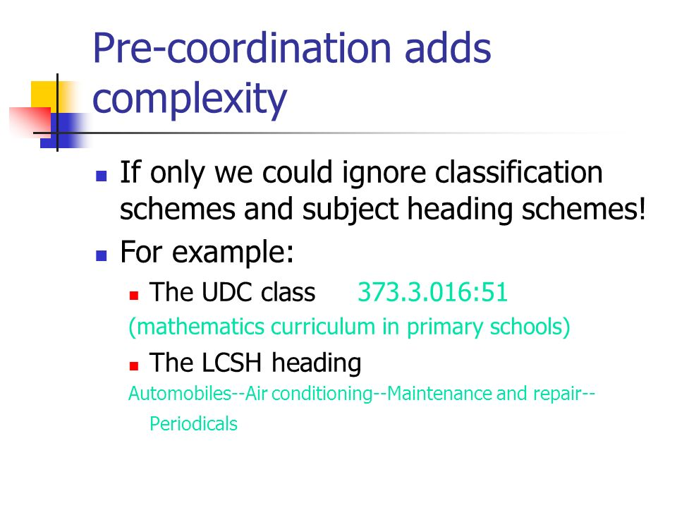 Pre-coordination adds complexity