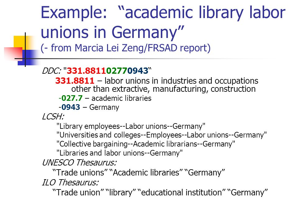 Example: academic library labor unions in Germany (- from Marcia Lei Zeng/FRSAD report)
