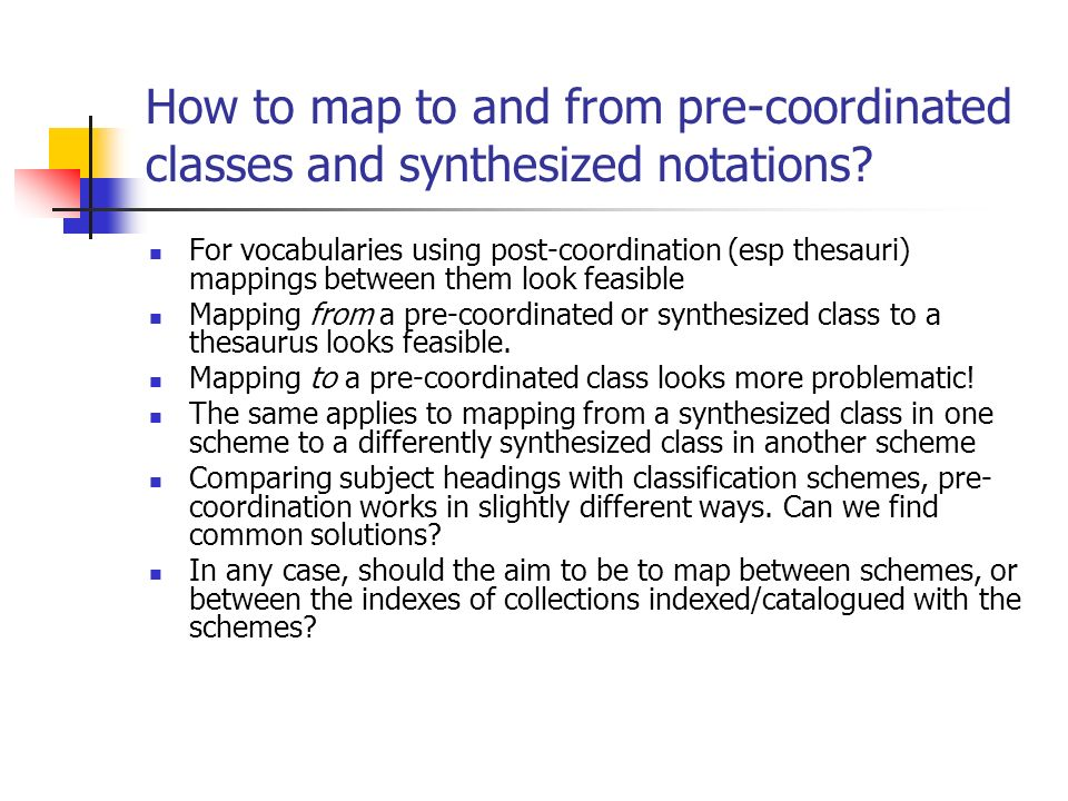 How to map to and from pre-coordinated classes and synthesized notations