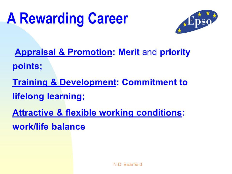 A Rewarding Career Appraisal & Promotion: Merit and priority points;