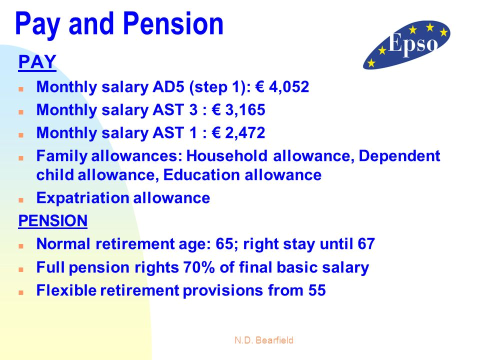 Pay and Pension PAY Monthly salary AD5 (step 1): € 4,052