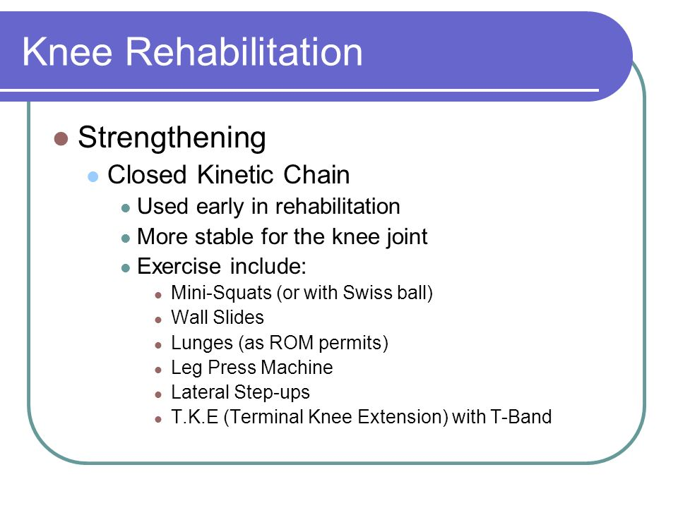Knee Rehabilitation. - ppt video online download