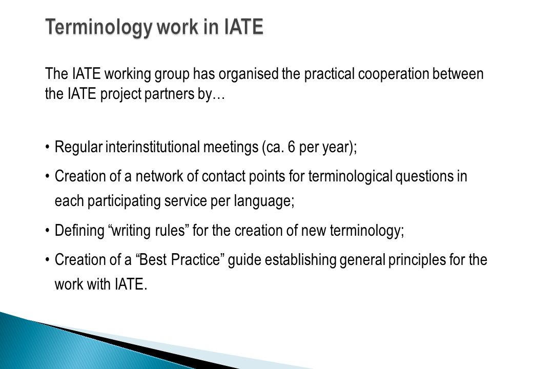 Terminology work in IATE