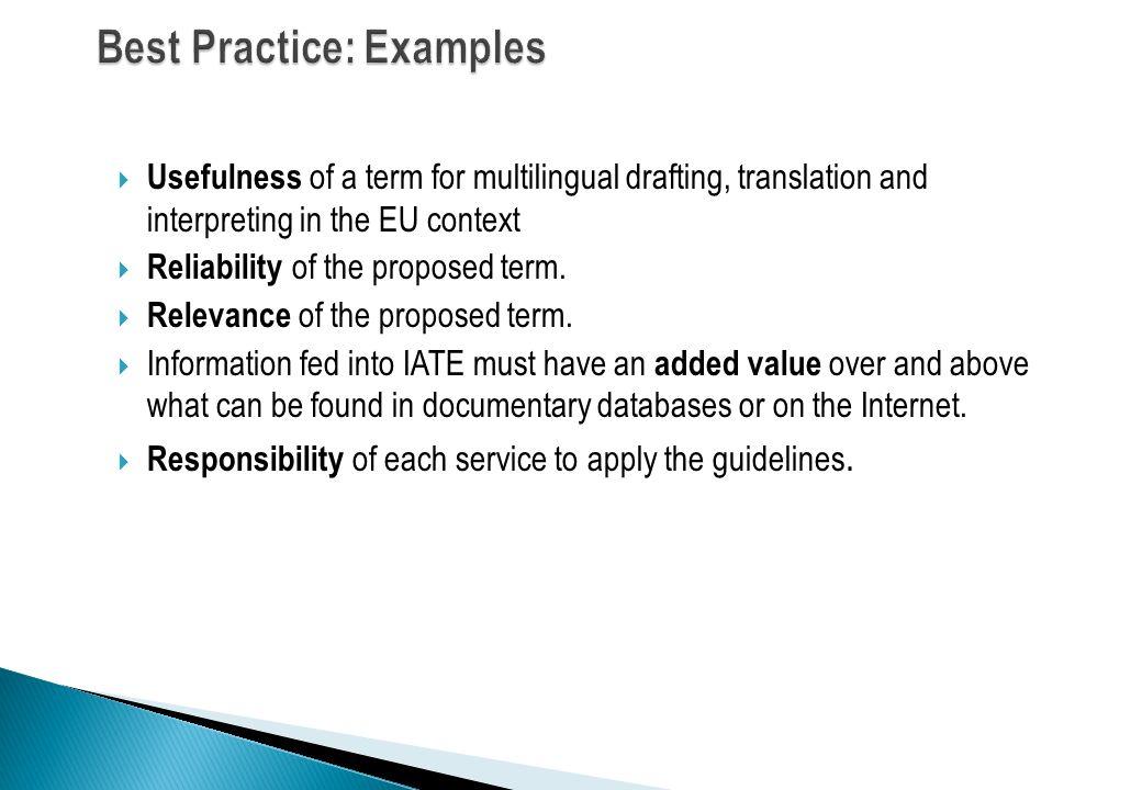 Best Practice: Examples