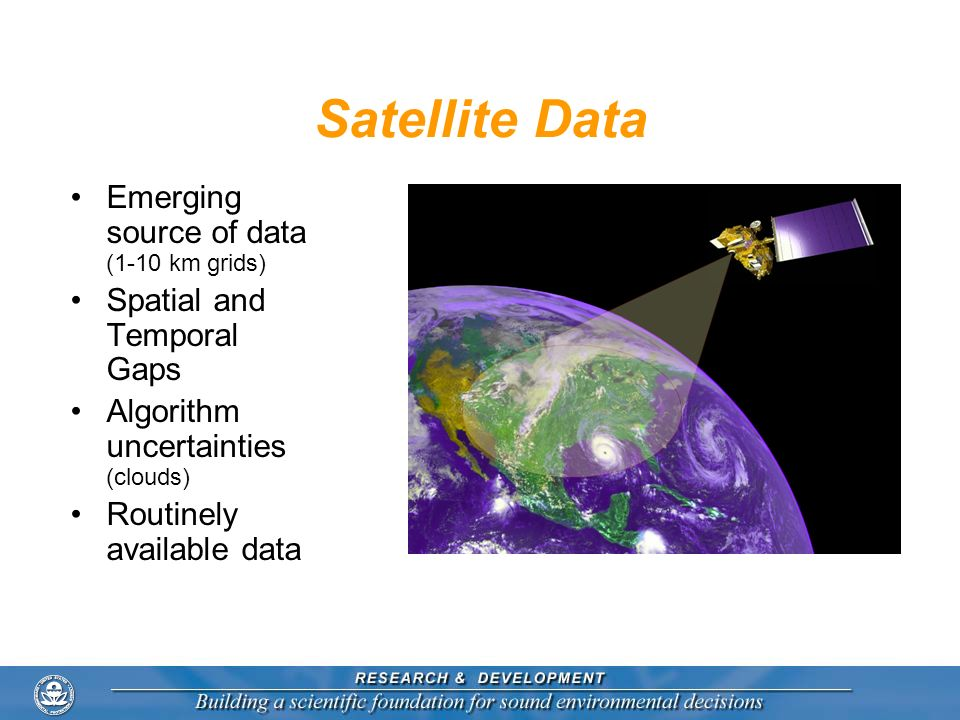 Satellite Data Emerging source of data (1-10 km grids)