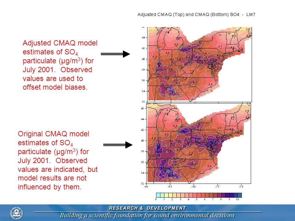 Adjusted CMAQ model estimates of SO4 particulate (μg/m3) for July 2001