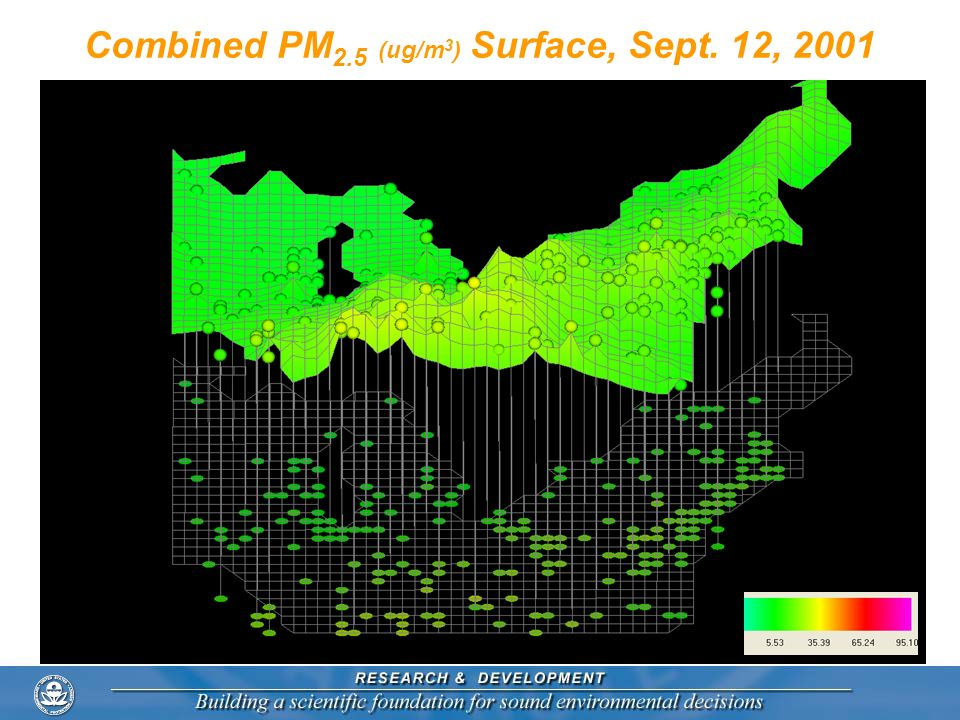Combined PM2.5 (ug/m3) Surface, Sept. 12, 2001