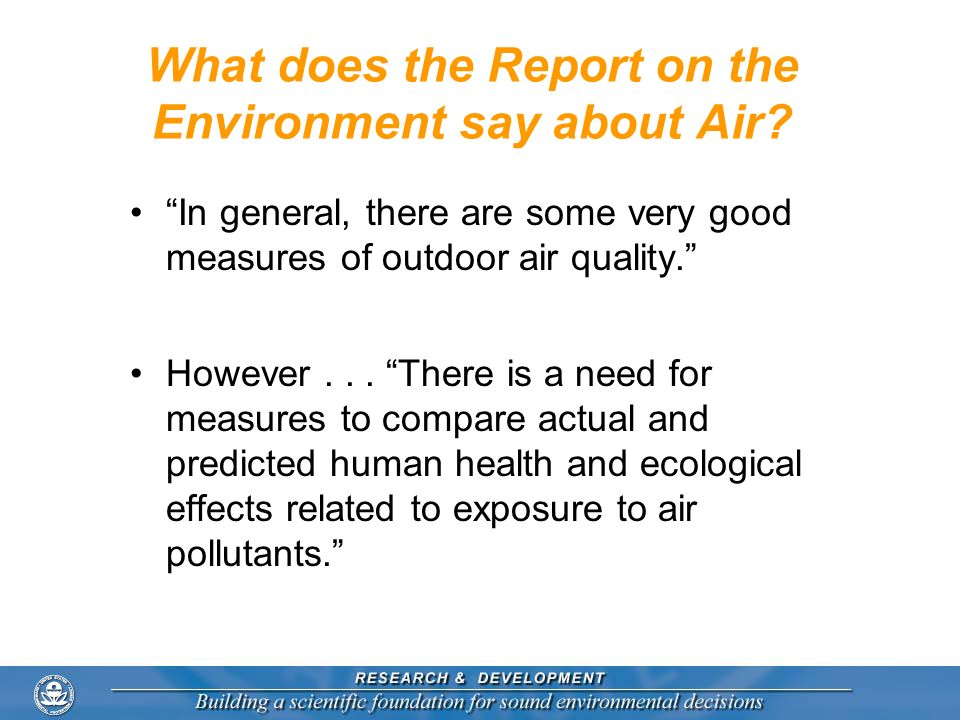 What does the Report on the Environment say about Air