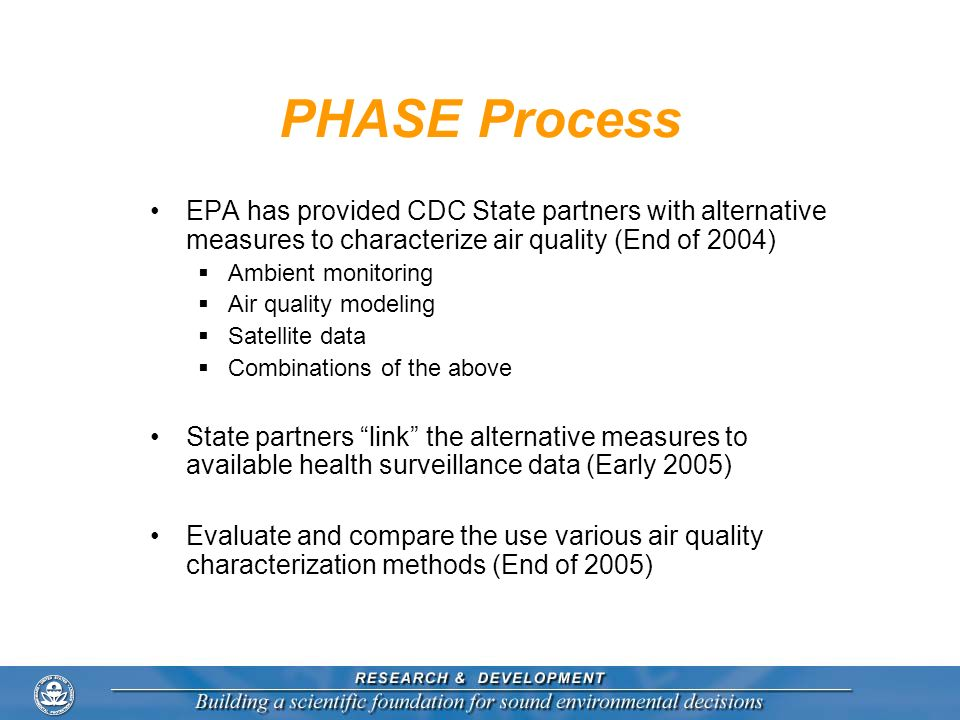 PHASE Process EPA has provided CDC State partners with alternative measures to characterize air quality (End of 2004)