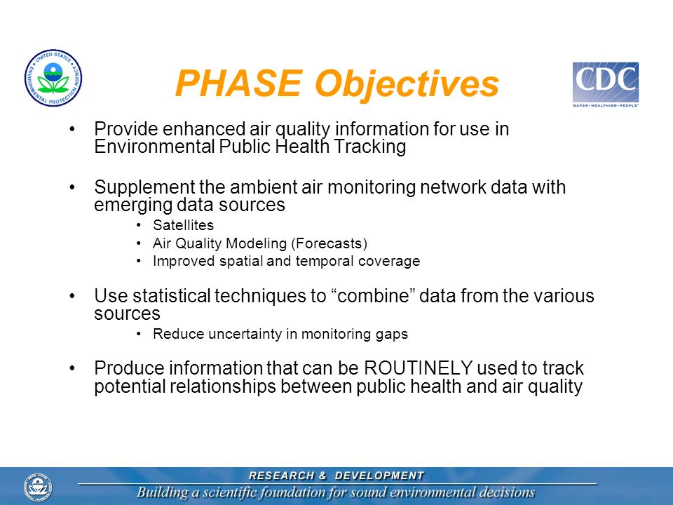 PHASE Objectives Provide enhanced air quality information for use in Environmental Public Health Tracking.