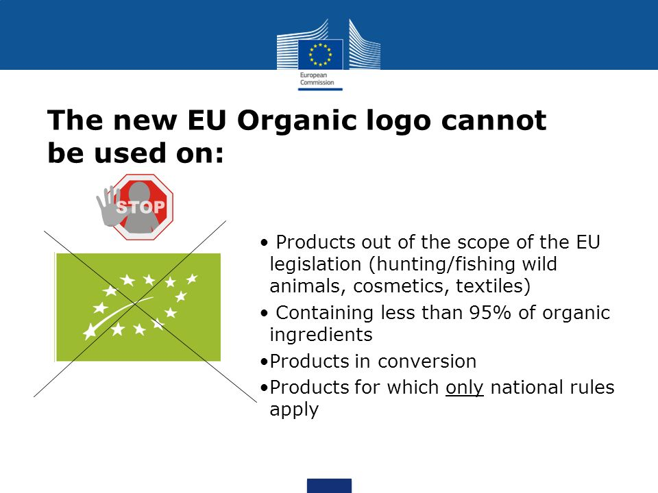 The new EU Organic logo cannot be used on:
