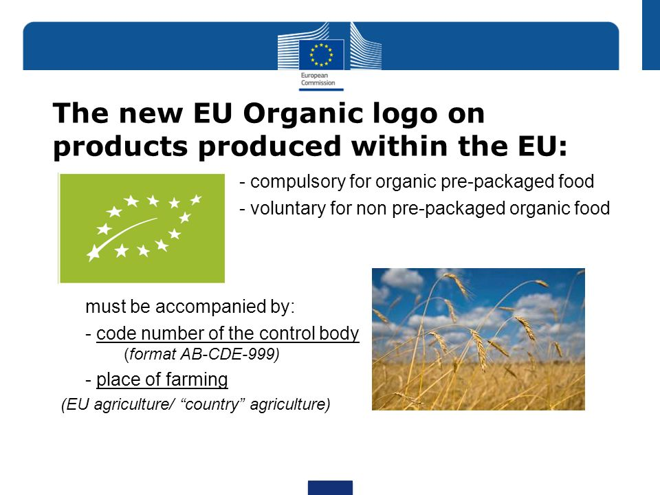 The new EU Organic logo on products produced within the EU: