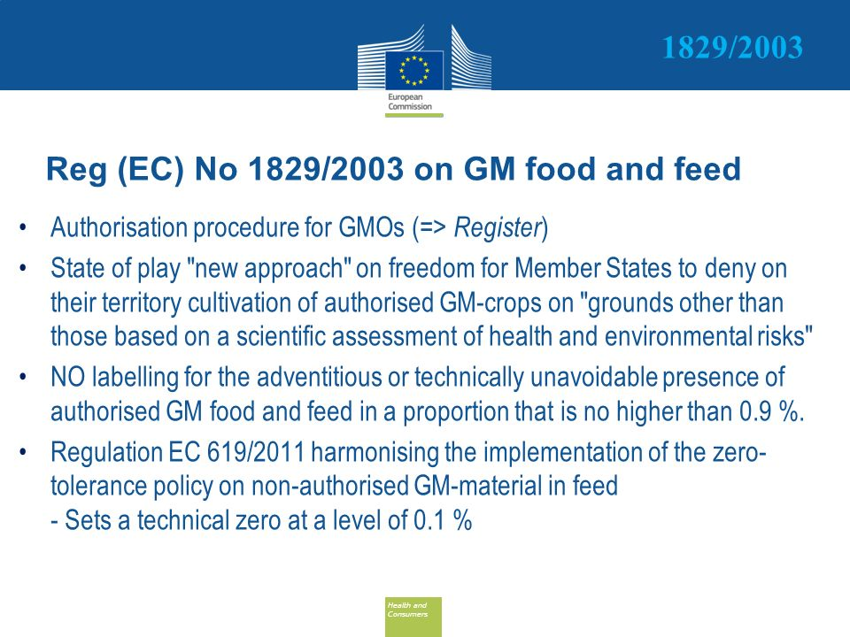 Reg (EC) No 1829/2003 on GM food and feed