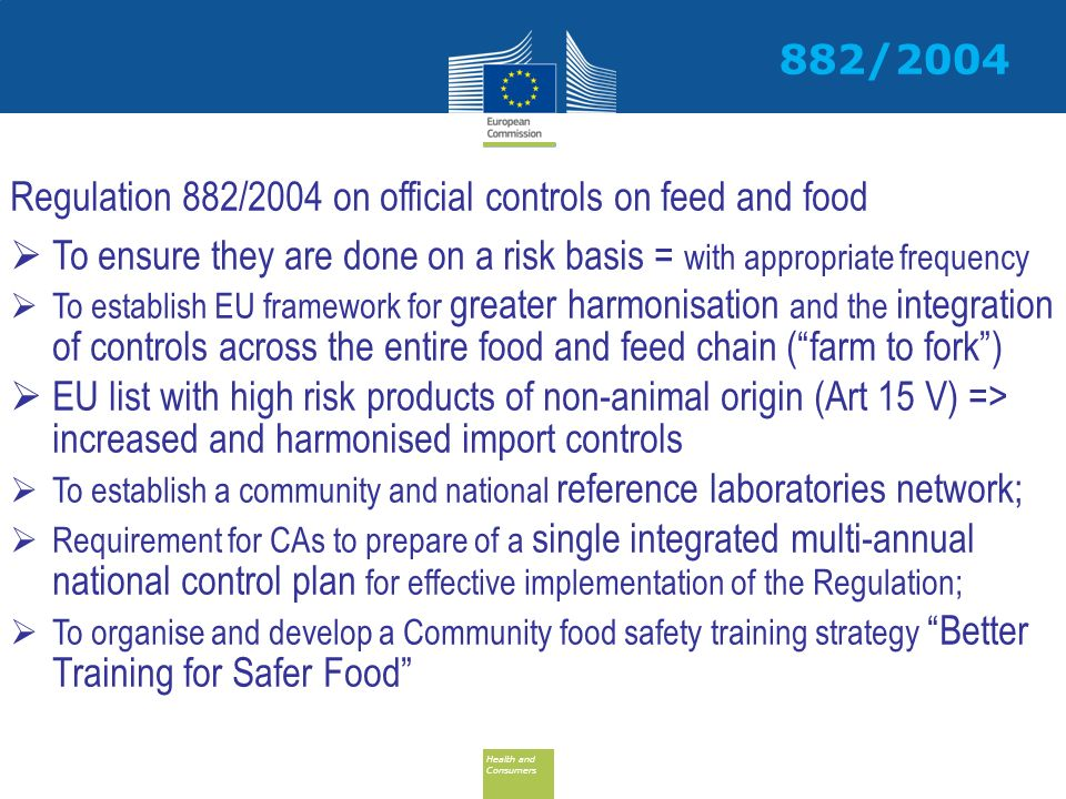 Regulation 882/2004 on official controls on feed and food