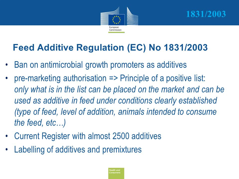 Feed Additive Regulation (EC) No 1831/2003