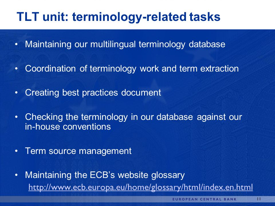TLT unit: terminology-related tasks