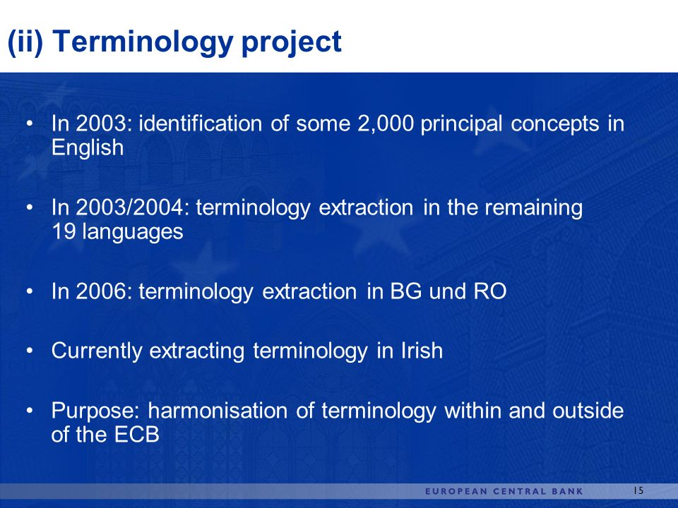 (ii) Terminology project