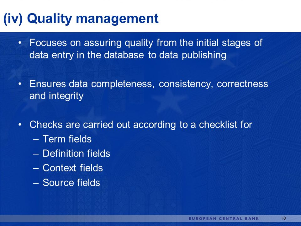 (iv) Quality management