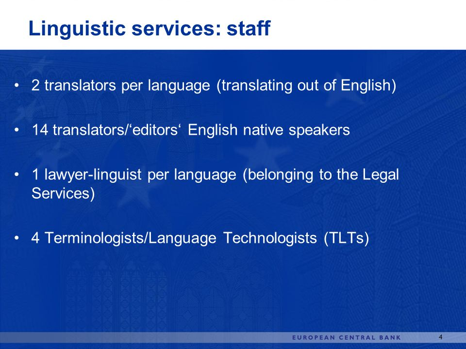 Linguistic services: staff