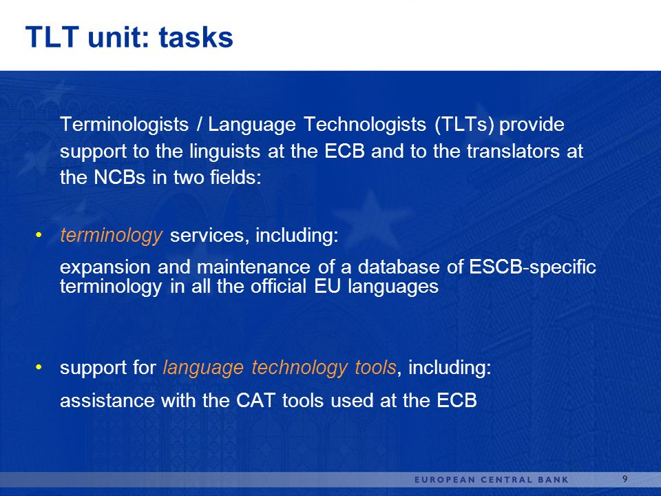 TLT unit: tasks terminology services, including: