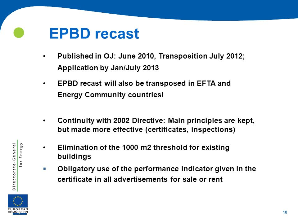  EPBD recast. Published in OJ: June 2010, Transposition July 2012; Application by Jan/July 2013.