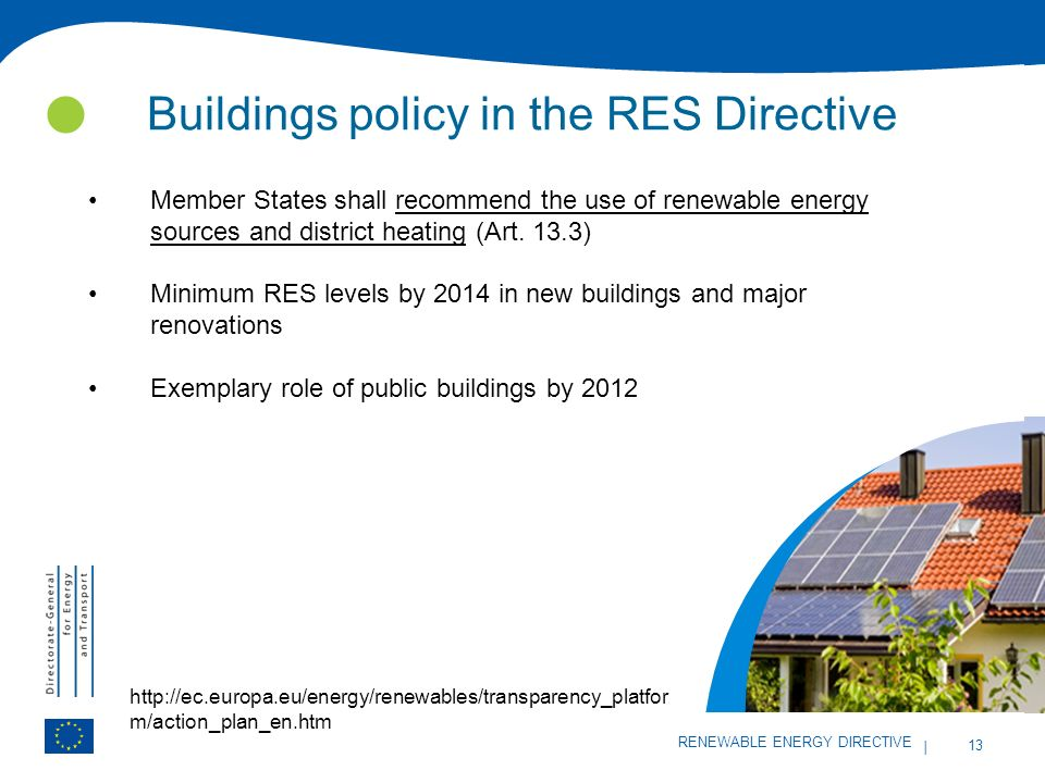 Buildings policy in the RES Directive