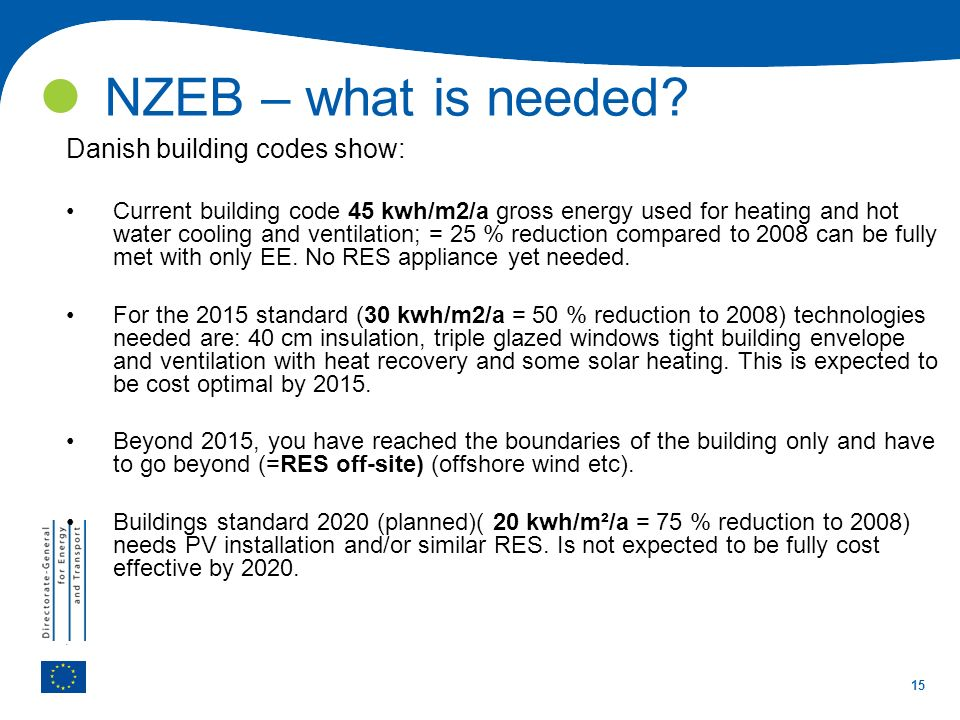 NZEB – what is needed Danish building codes show:
