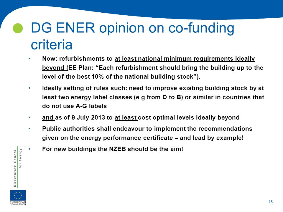 DG ENER opinion on co-funding criteria
