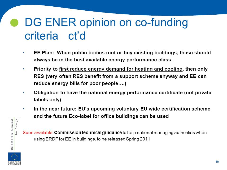 DG ENER opinion on co-funding criteria ct'd