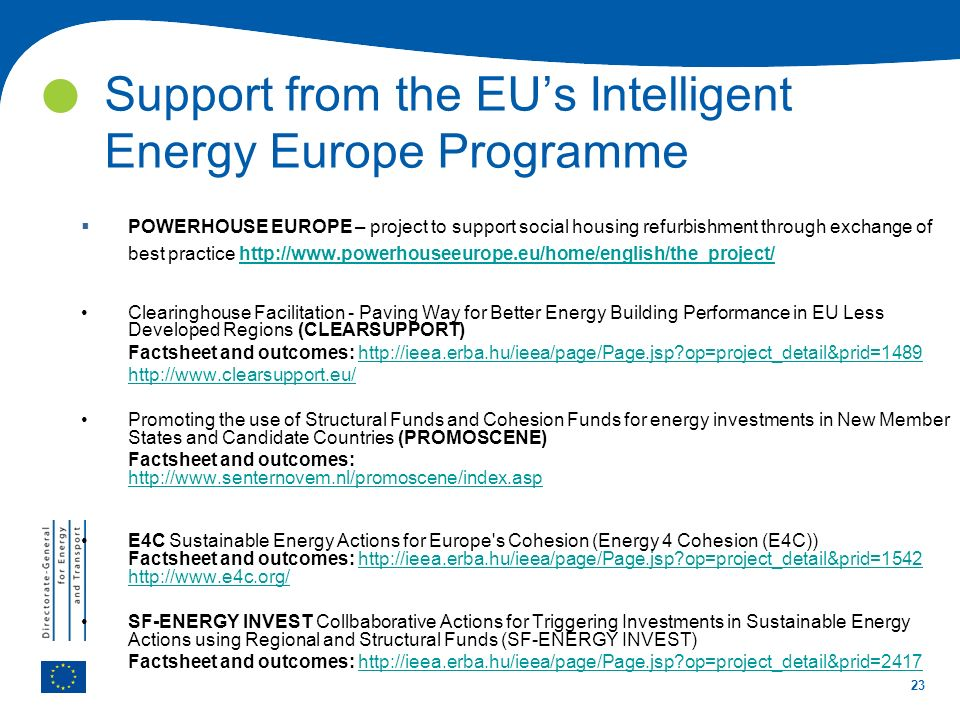 Support from the EU's Intelligent Energy Europe Programme