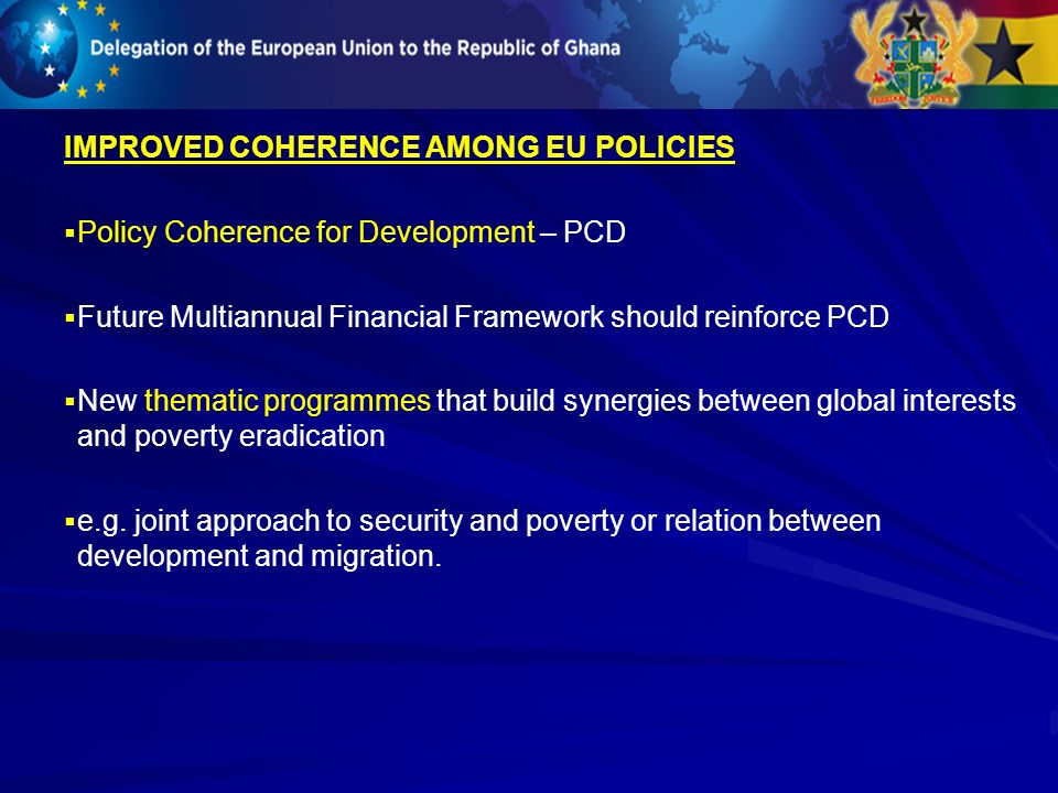 IMPROVED COHERENCE AMONG EU POLICIES