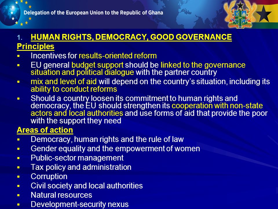 HUMAN RIGHTS, DEMOCRACY, GOOD GOVERNANCE