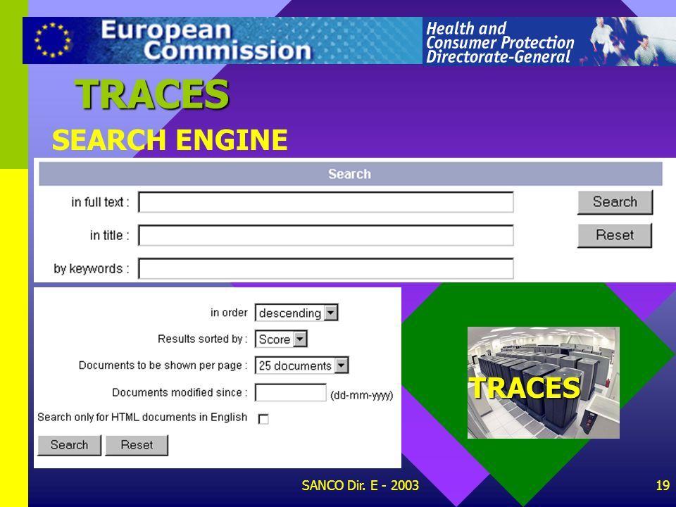 TRACES SEARCH ENGINE TRACES SANCO Dir. E - 2003