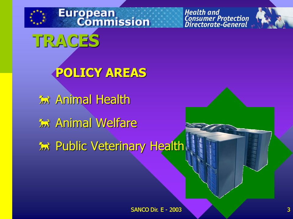 TRACES POLICY AREAS Animal Health Animal Welfare