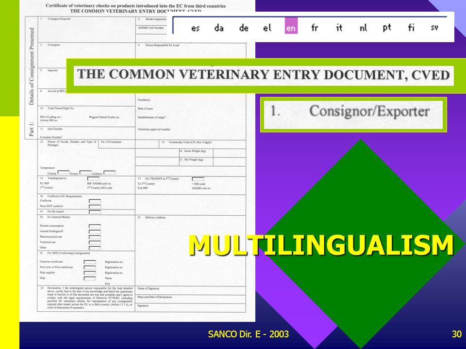 MULTILINGUALISM SANCO Dir. E - 2003