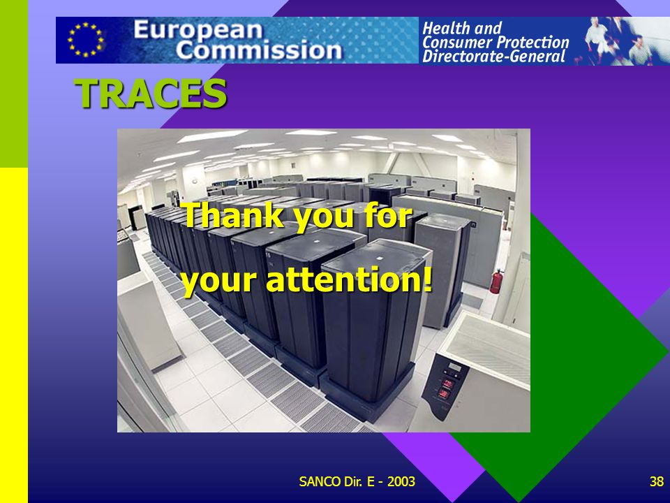 TRACES Thank you for your attention! SANCO Dir. E - 2003