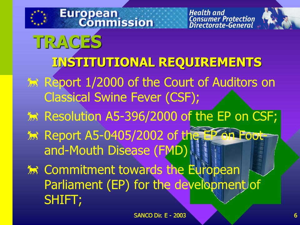 TRACES INSTITUTIONAL REQUIREMENTS