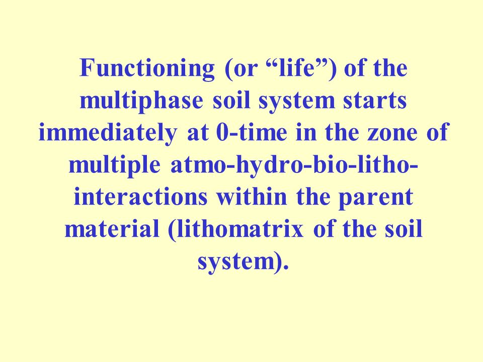 Functioning (or life ) of the multiphase soil system starts immediately at 0-time in the zone of multiple atmo-hydro-bio-litho- interactions within the parent material (lithomatrix of the soil system).