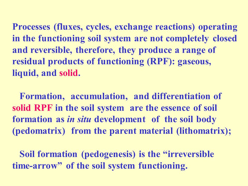 Processes (fluxes, cycles, exchange reactions) operating in the functioning soil system are not completely closed and reversible, therefore, they produce a range of residual products of functioning (RPF): gaseous, liquid, and solid.
