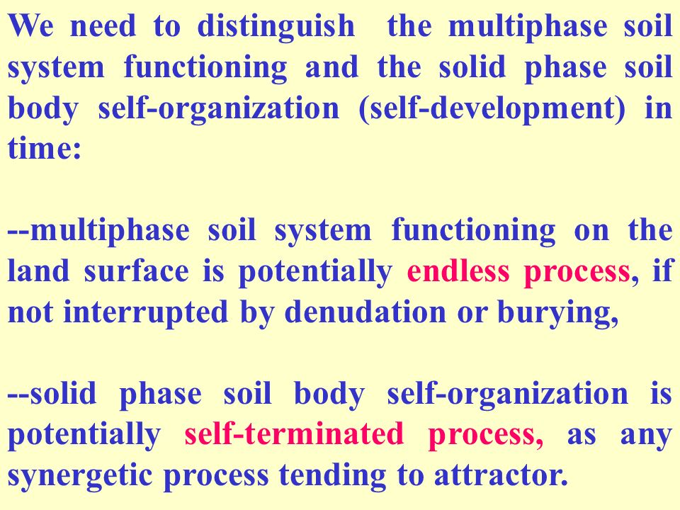 We need to distinguish the multiphase soil system functioning and the solid phase soil body self-organization (self-development) in time: