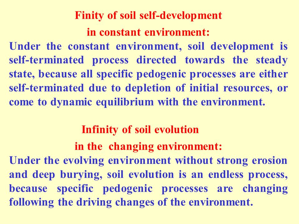 Finity of soil self-development in constant environment: