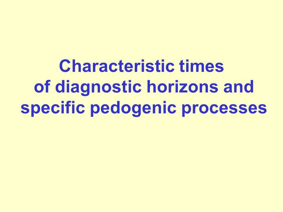 of diagnostic horizons and specific pedogenic processes