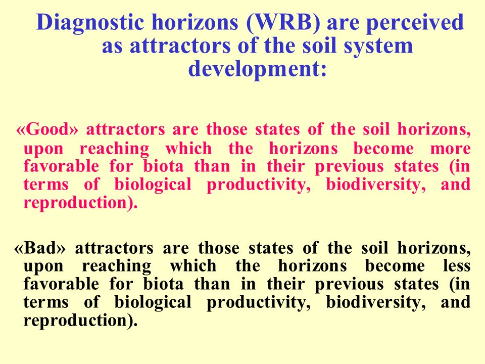 Diagnostic horizons (WRB) are perceived as attractors of the soil system development: