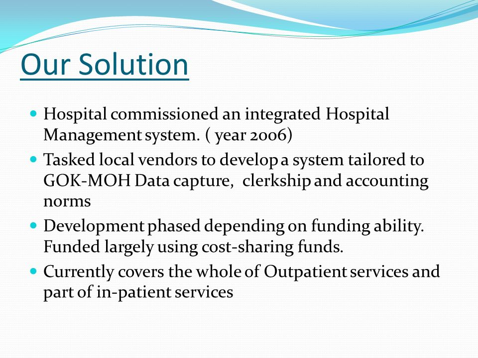 local literature of billing system in hospital Telecommunication companies need an effective and accurate billing system to be able to assure their revenue billing systems process the usage of network equipment that is used during the service usage into a single call detail record (cdr) the billing process involves receiving billing records.